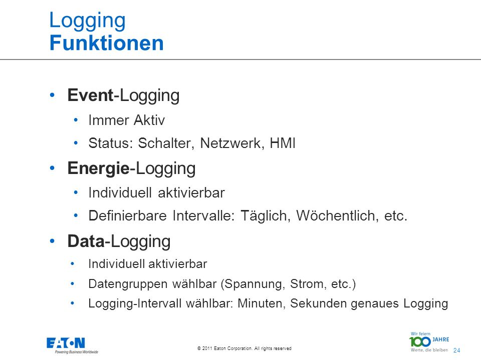 Logging Funktionen Event-Logging Energie-Logging Data-Logging