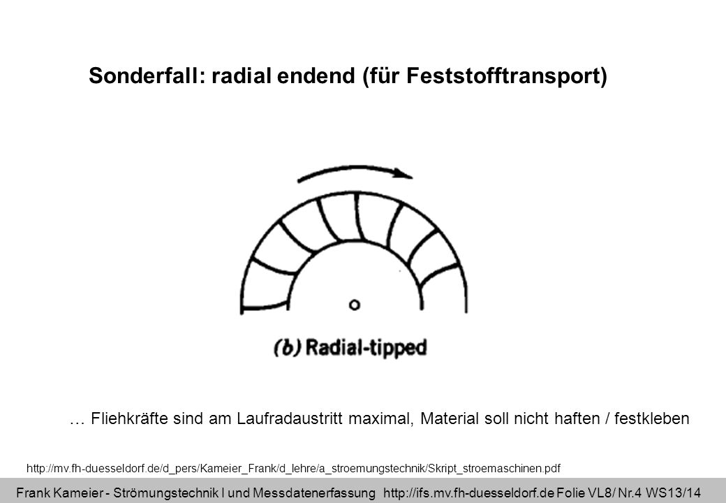 Sonderfall: radial endend (für Feststofftransport)