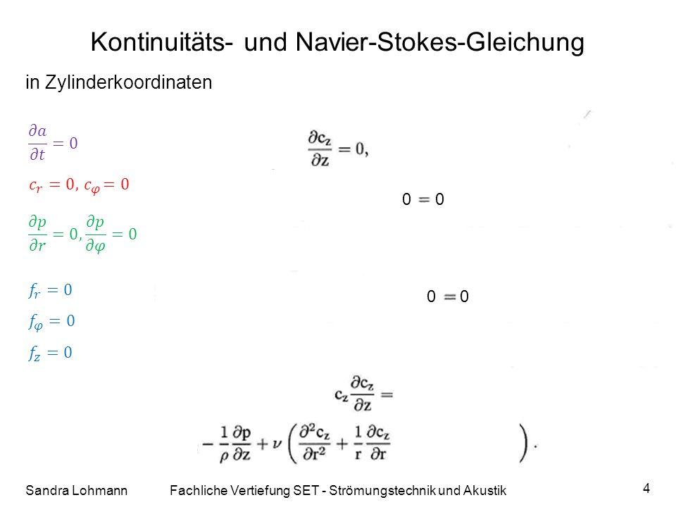 Kontinuitäts- und Navier-Stokes-Gleichung