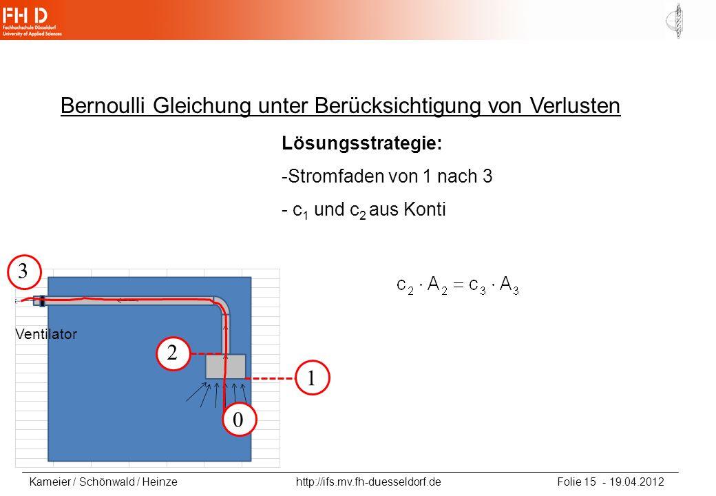Bernoulli Gleichung unter Berücksichtigung von Verlusten