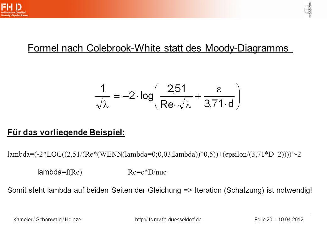 Formel nach Colebrook-White statt des Moody-Diagramms