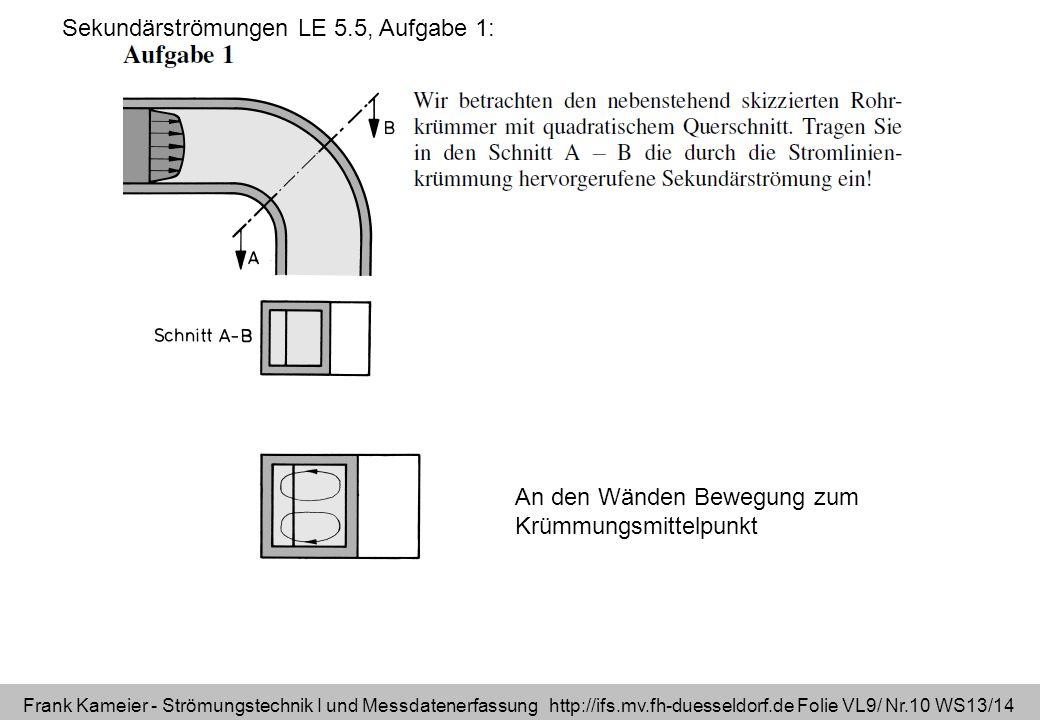 Sekundärströmungen LE 5.5, Aufgabe 1: