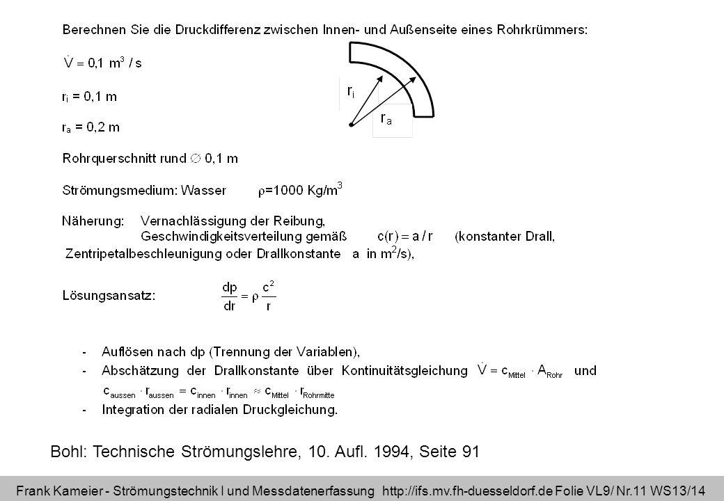 Bohl: Technische Strömungslehre, 10. Aufl. 1994, Seite 91