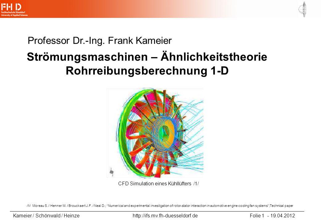 Strömungsmaschinen – Ähnlichkeitstheorie Rohrreibungsberechnung 1-D