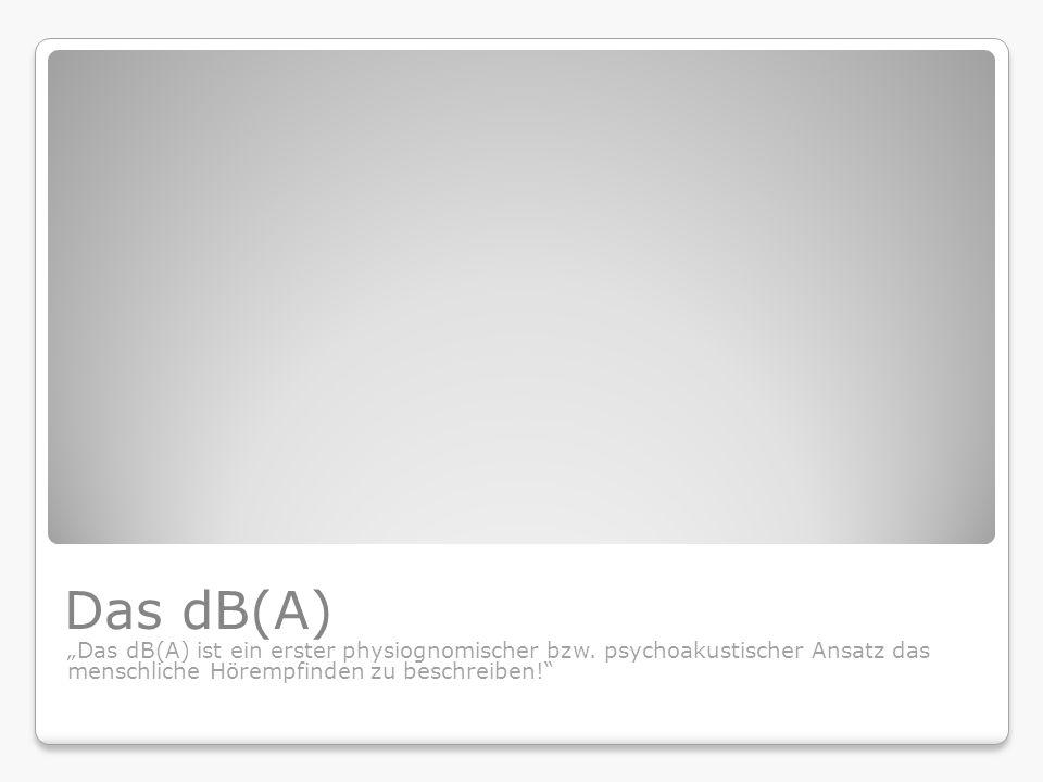 """Das dB(A) """"Das dB(A) ist ein erster physiognomischer bzw."""