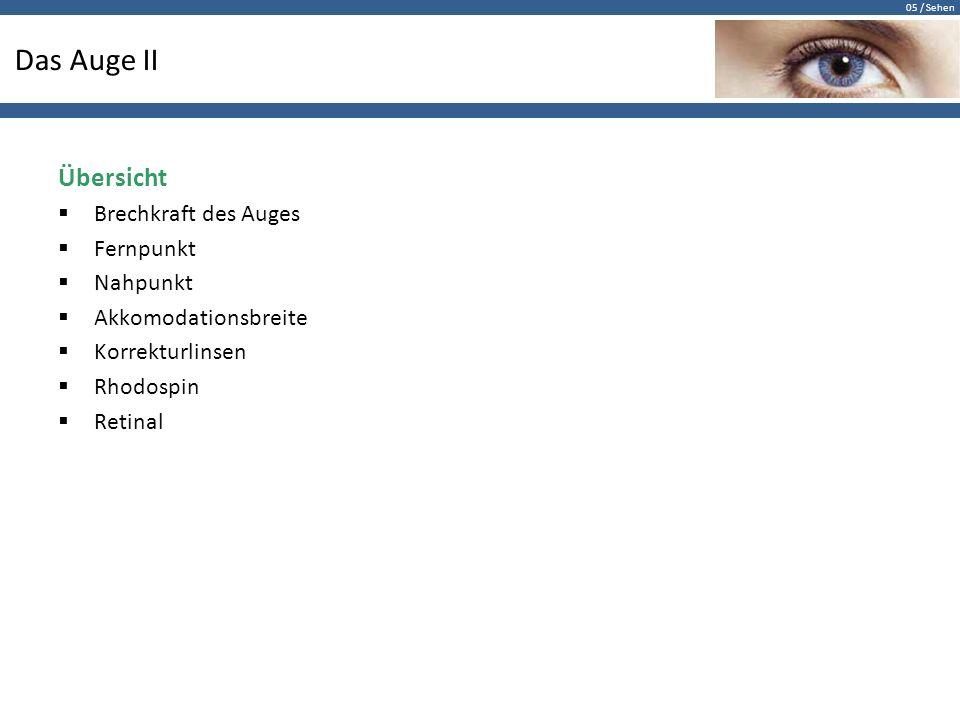 Das Auge II Übersicht Brechkraft des Auges Fernpunkt Nahpunkt
