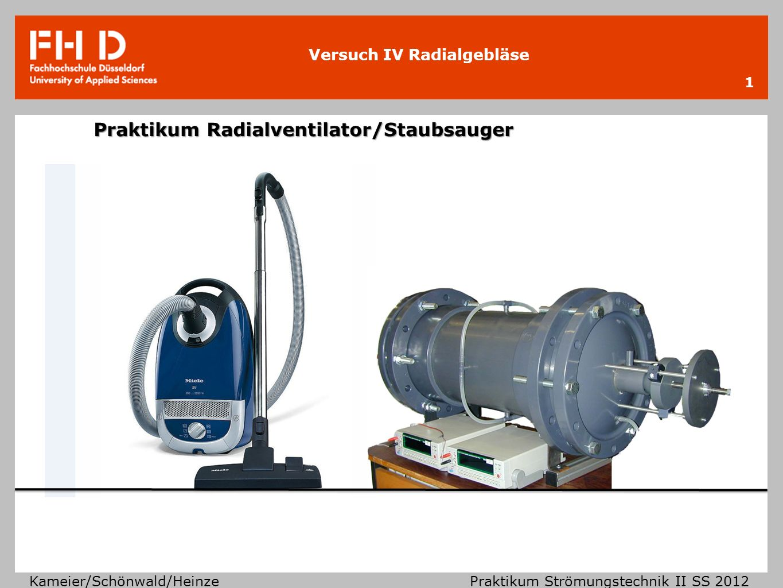 Praktikum Radialventilator/Staubsauger