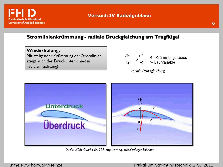 Stromlinienkrümmung - radiale Druckgleichung am Tragflügel