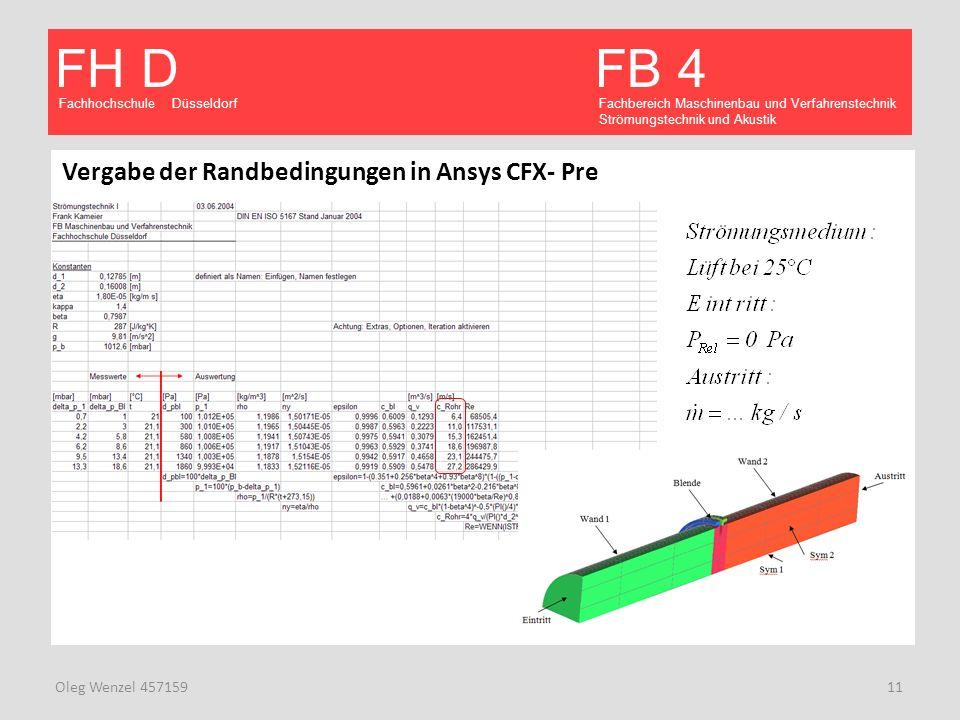 Vergabe der Randbedingungen in Ansys CFX- Pre