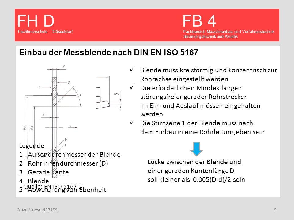 Einbau der Messblende nach DIN EN ISO 5167