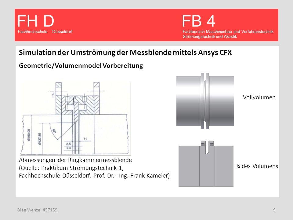Simulation der Umströmung der Messblende mittels Ansys CFX