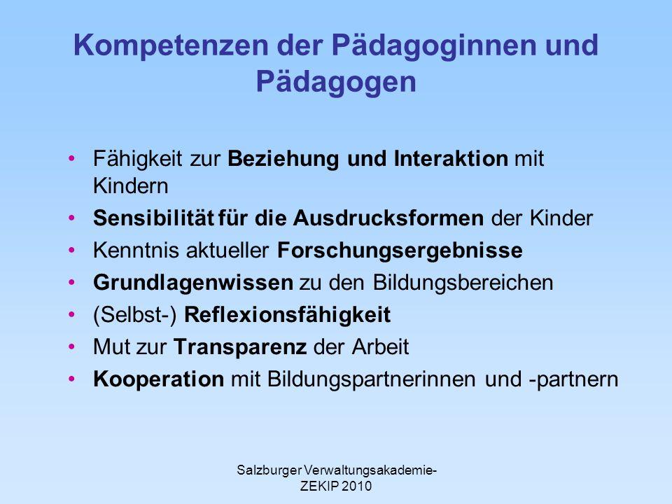 Kompetenzen der Pädagoginnen und Pädagogen