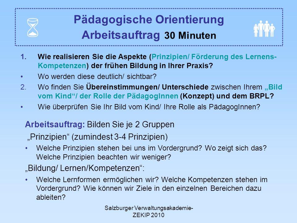 Pädagogische Orientierung Arbeitsauftrag 30 Minuten