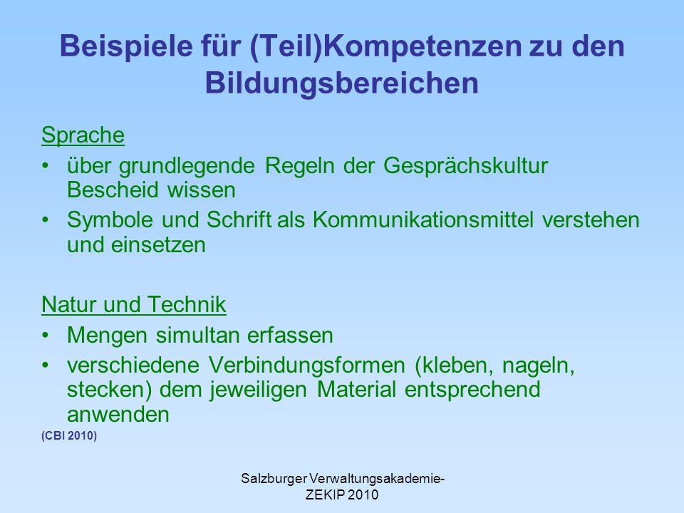 Beispiele für (Teil)Kompetenzen zu den Bildungsbereichen
