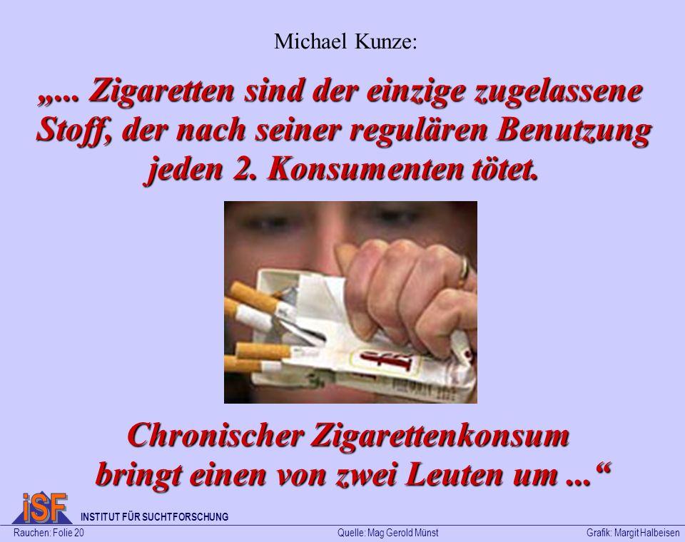 Chronischer Zigarettenkonsum bringt einen von zwei Leuten um ...