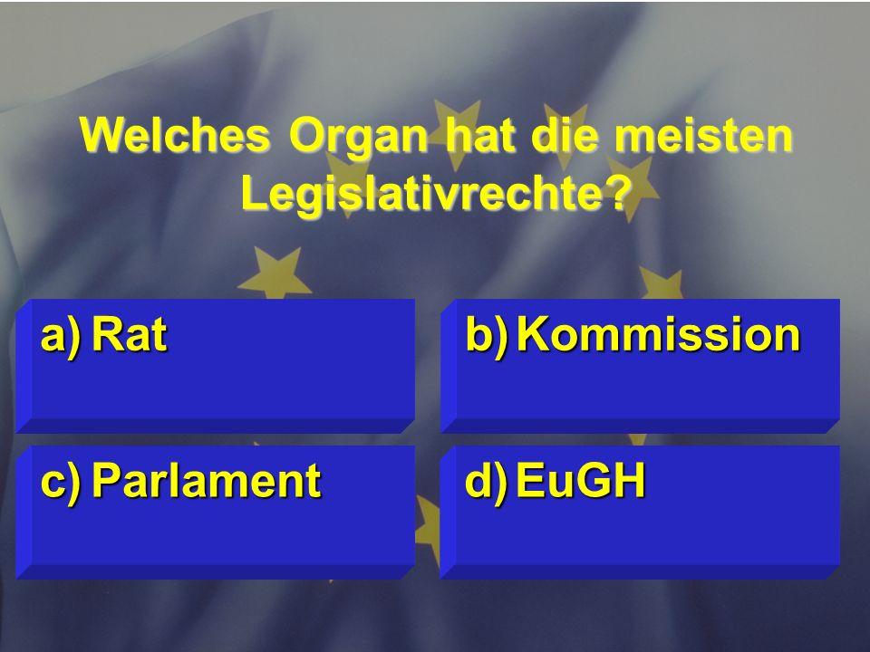 Welches Organ hat die meisten Legislativrechte