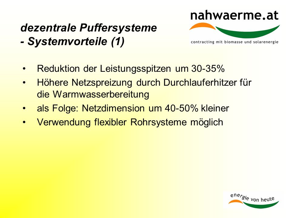 dezentrale Puffersysteme - Systemvorteile (1)