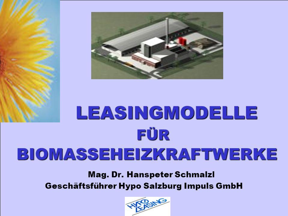 LEASINGMODELLE FÜR BIOMASSEHEIZKRAFTWERKE Mag. Dr