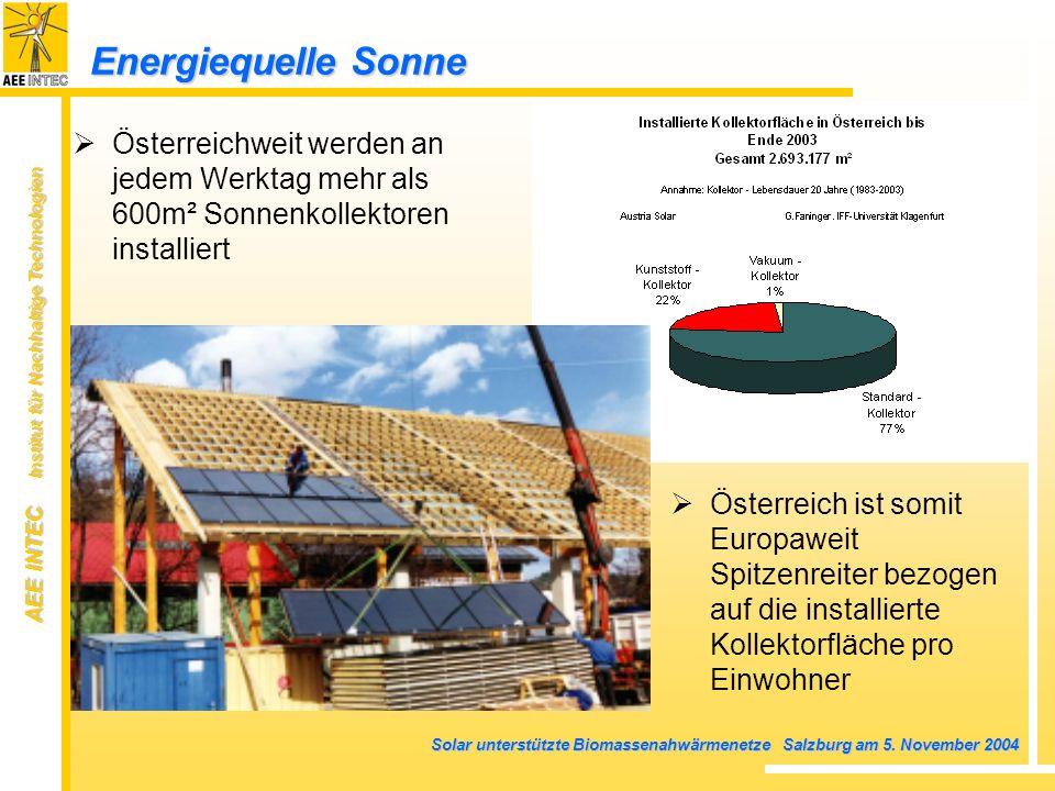 Energiequelle Sonne Österreichweit werden an jedem Werktag mehr als 600m² Sonnenkollektoren installiert.