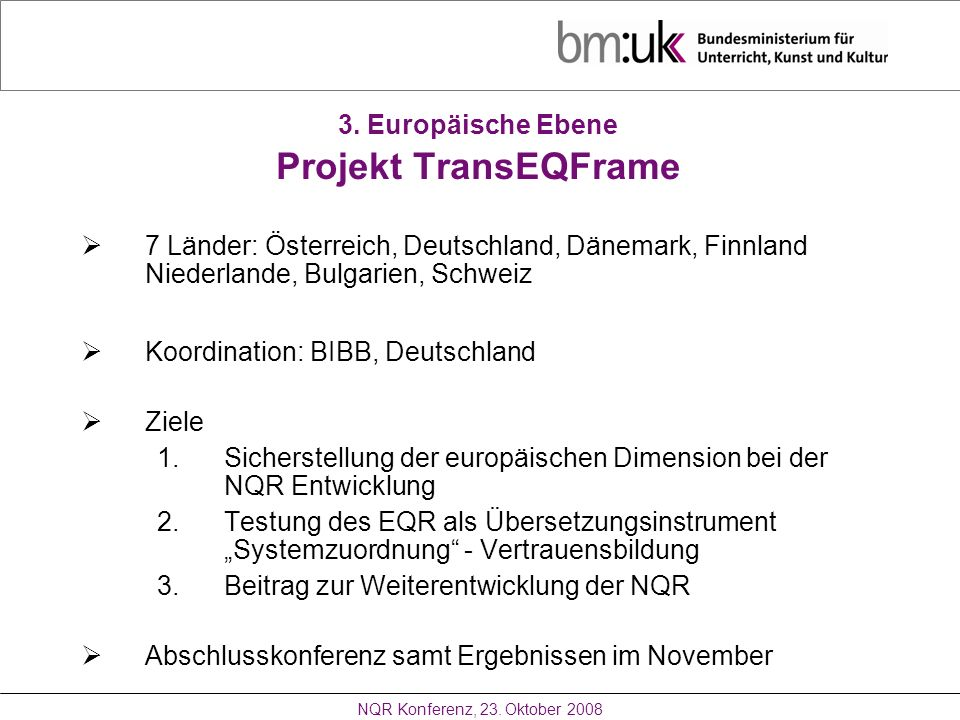 3. Europäische Ebene Projekt TransEQFrame