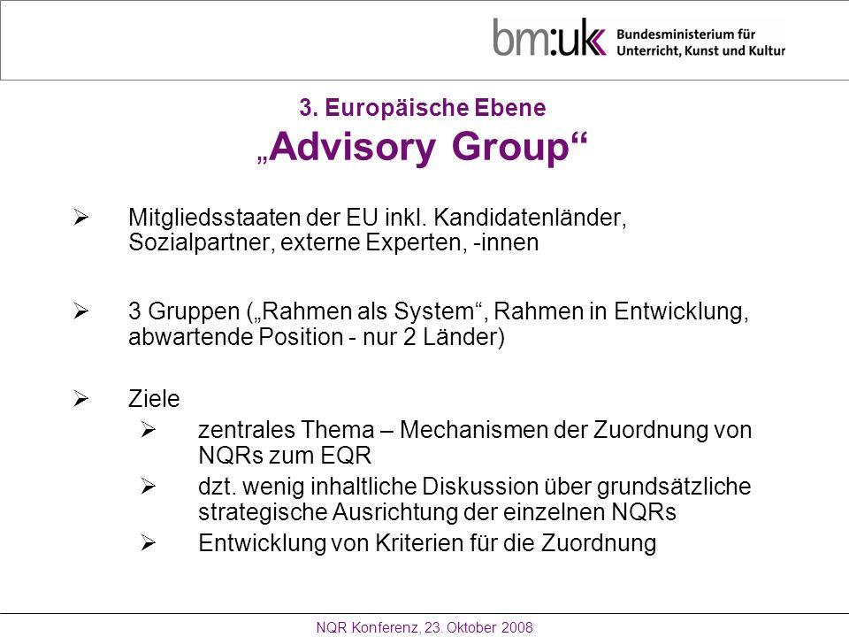 """3. Europäische Ebene """"Advisory Group"""
