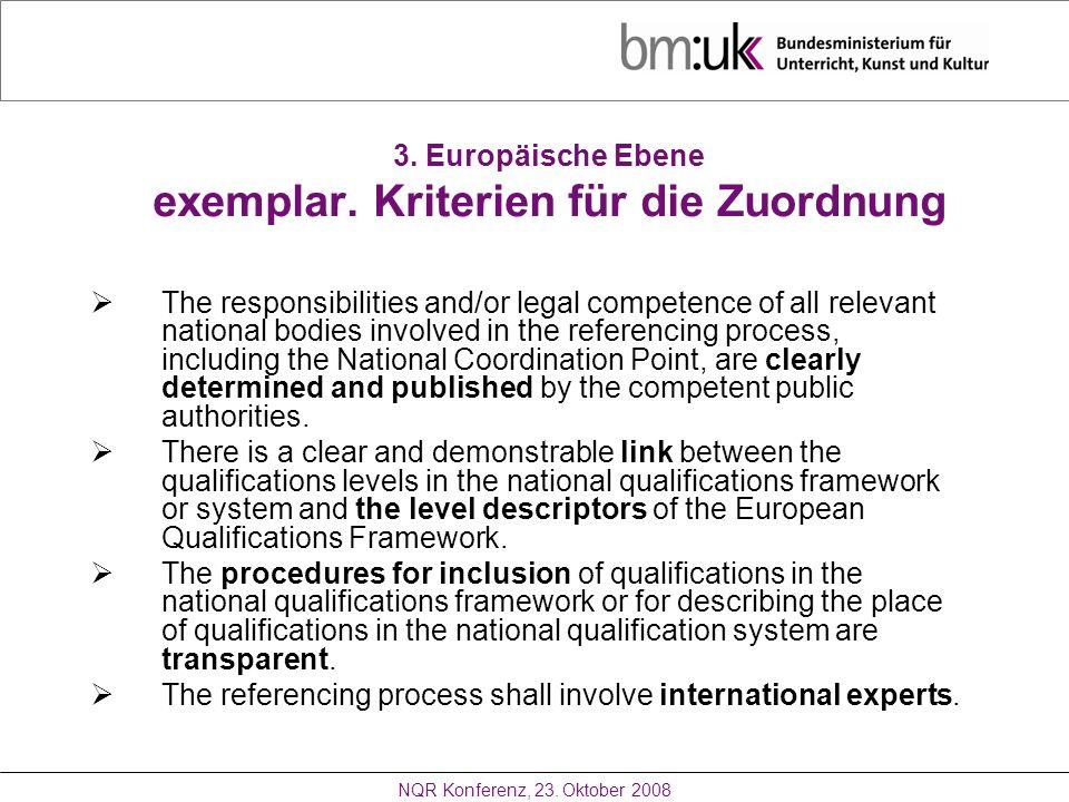 3. Europäische Ebene exemplar. Kriterien für die Zuordnung