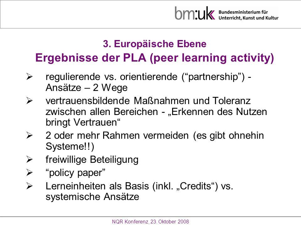 3. Europäische Ebene Ergebnisse der PLA (peer learning activity)