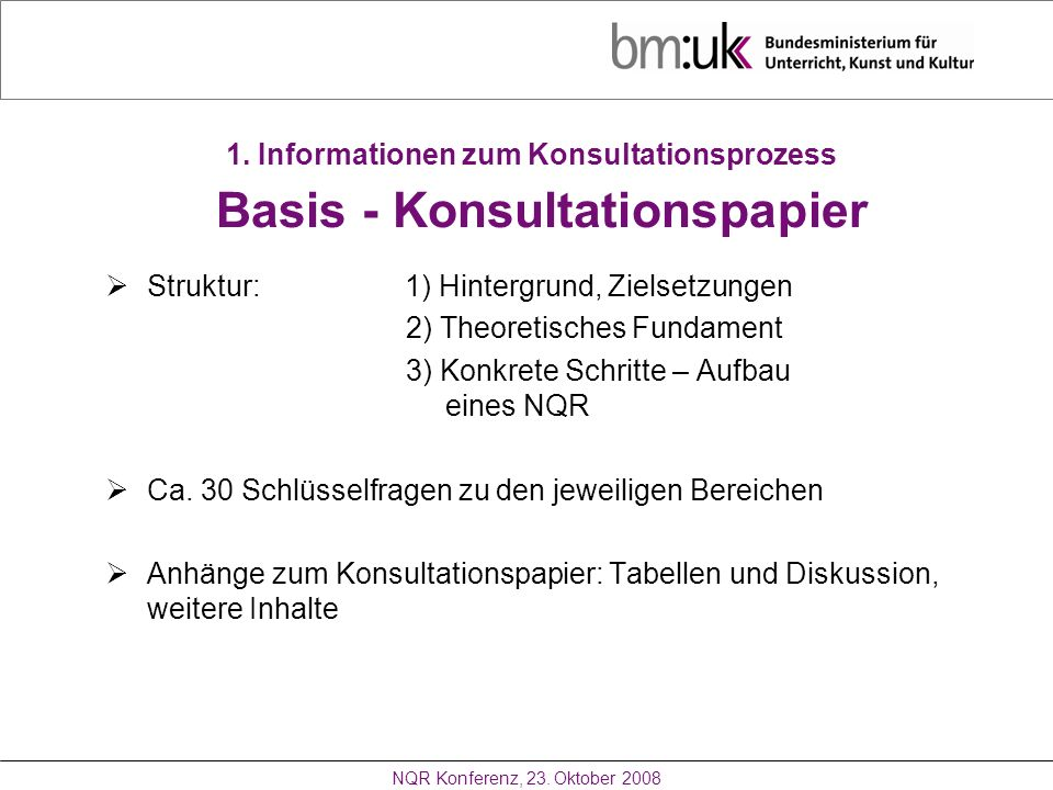 1. Informationen zum Konsultationsprozess Basis - Konsultationspapier