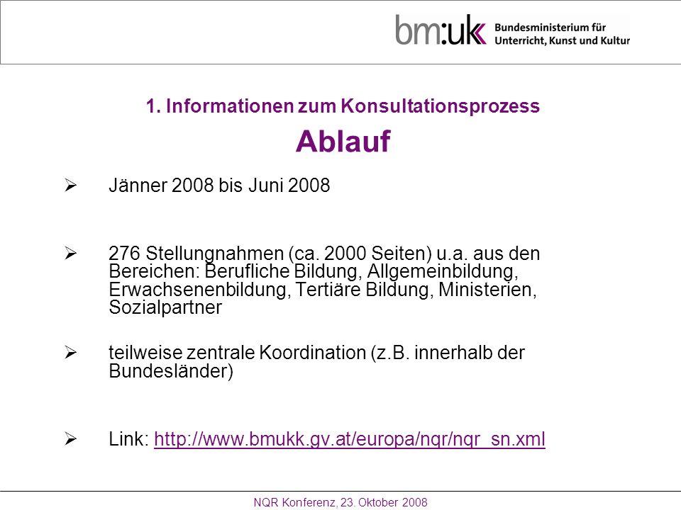 1. Informationen zum Konsultationsprozess Ablauf