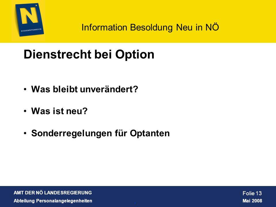 Dienstrecht bei Option