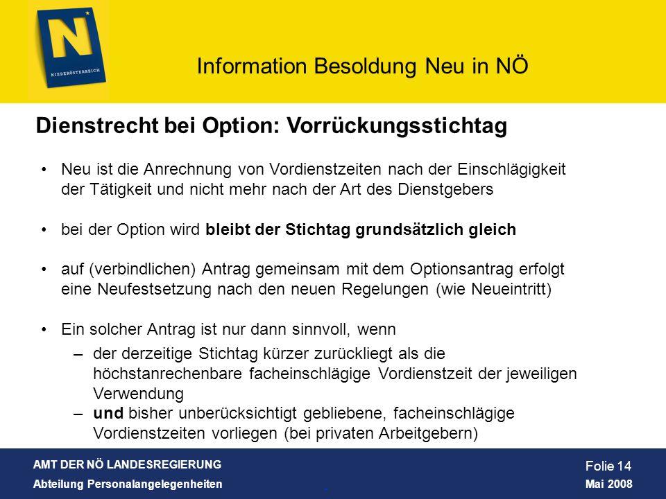 Dienstrecht bei Option: Vorrückungsstichtag