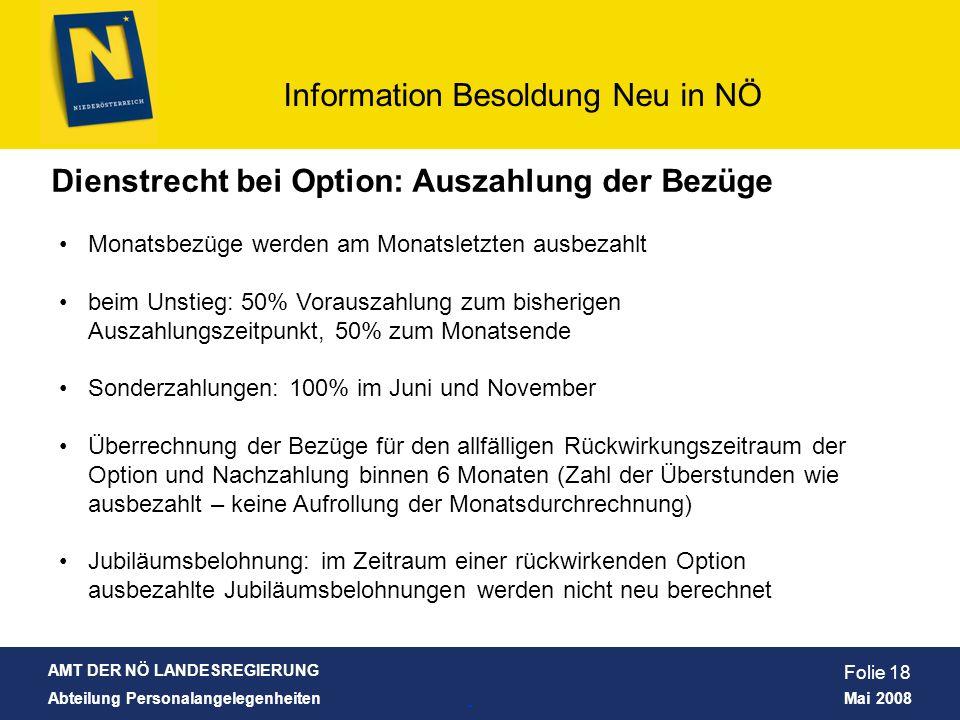 Dienstrecht bei Option: Auszahlung der Bezüge