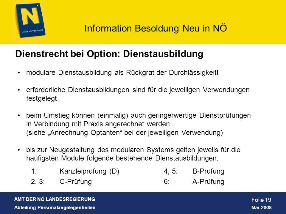 Dienstrecht bei Option: Dienstausbildung