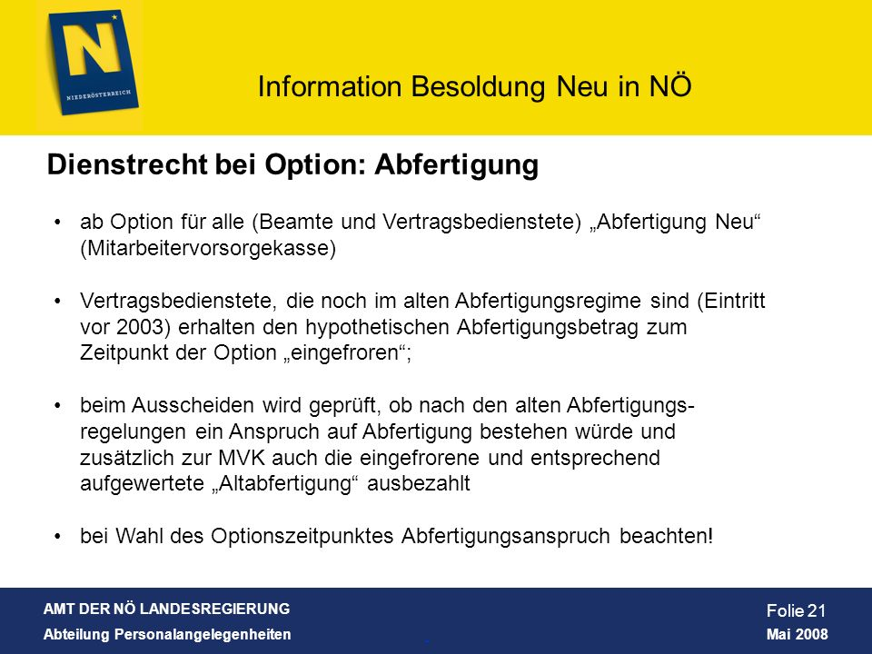 Dienstrecht bei Option: Abfertigung