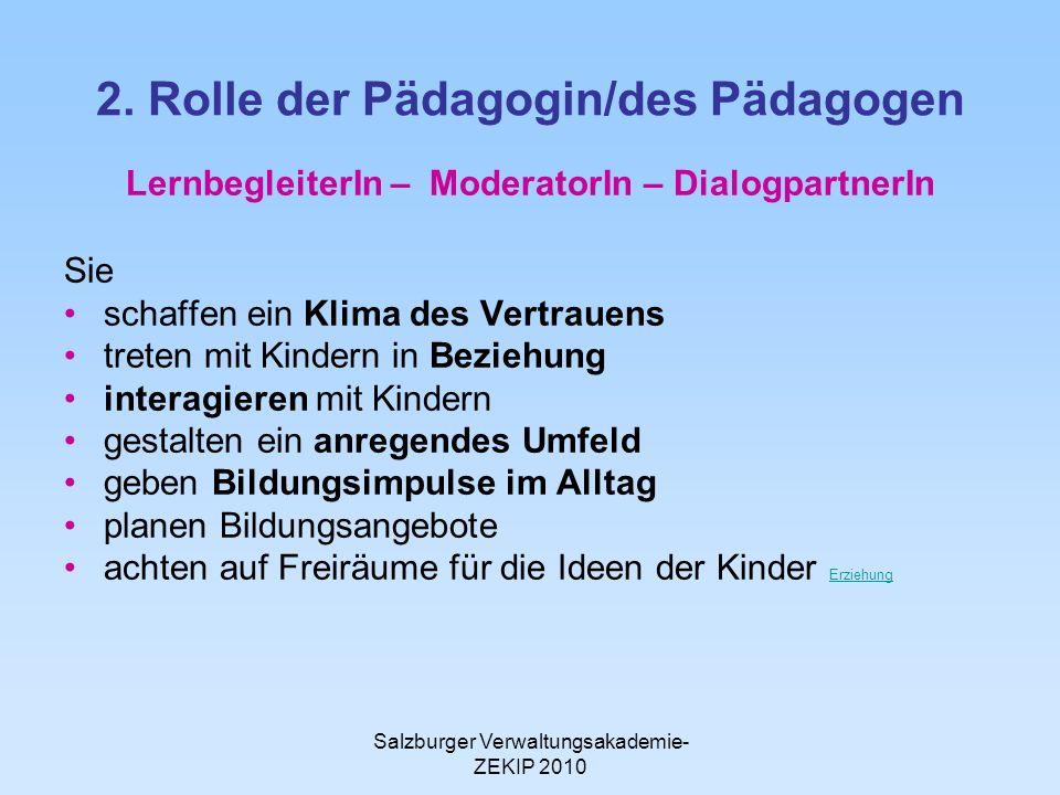 2. Rolle der Pädagogin/des Pädagogen