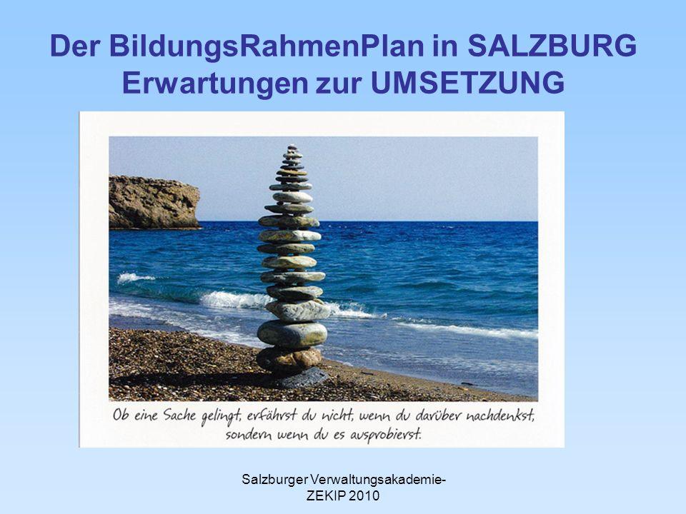 Der BildungsRahmenPlan in SALZBURG Erwartungen zur UMSETZUNG