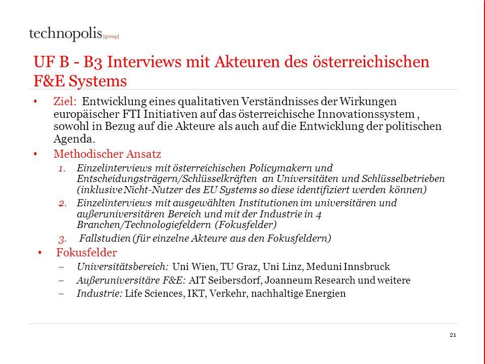 UF B - B3 Interviews mit Akteuren des österreichischen F&E Systems