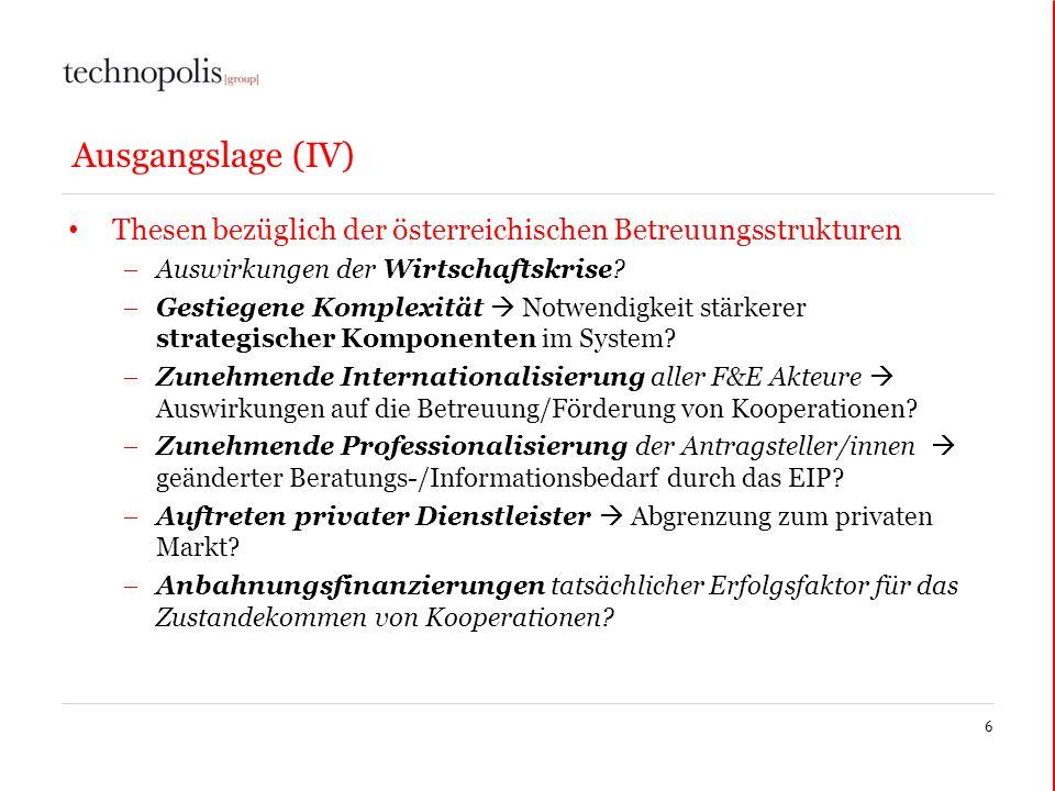 Ausgangslage (IV) Thesen bezüglich der österreichischen Betreuungsstrukturen. Auswirkungen der Wirtschaftskrise