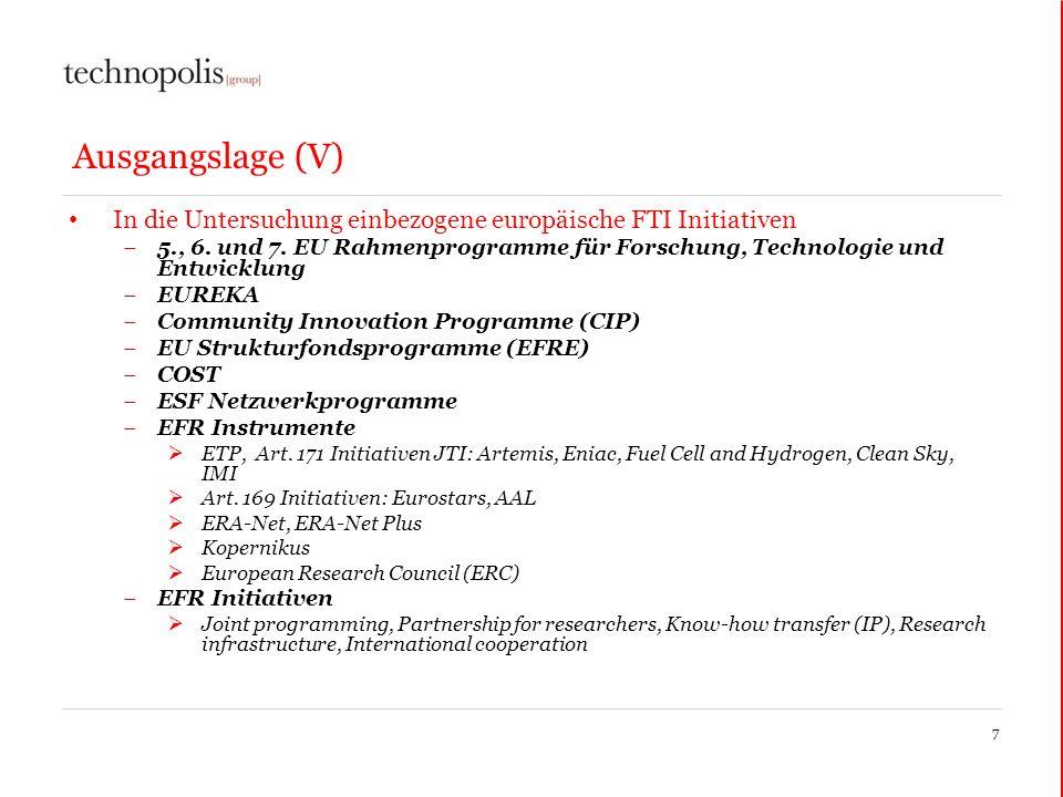 Ausgangslage (V) In die Untersuchung einbezogene europäische FTI Initiativen.