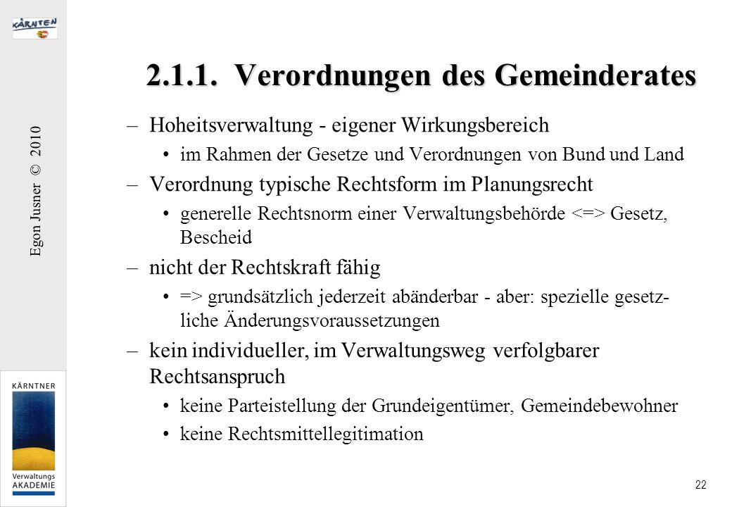 2.1.1. Verordnungen des Gemeinderates