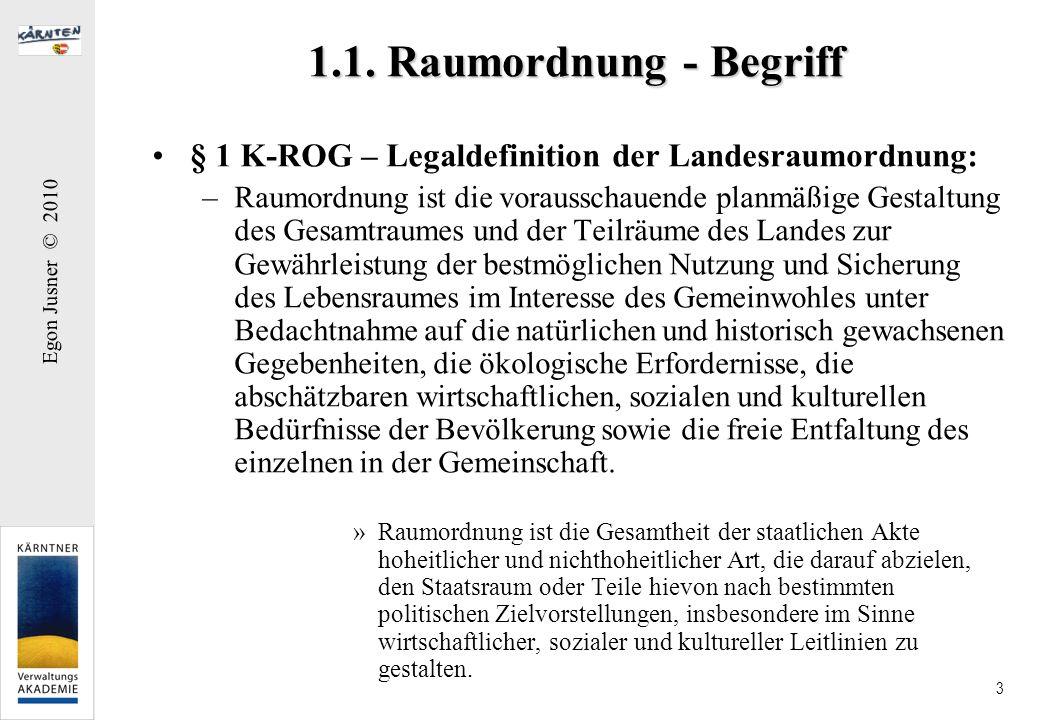 1.1. Raumordnung - Begriff § 1 K-ROG – Legaldefinition der Landesraumordnung: