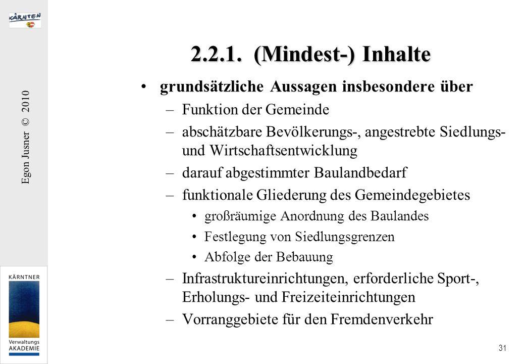 2.2.1. (Mindest-) Inhalte grundsätzliche Aussagen insbesondere über