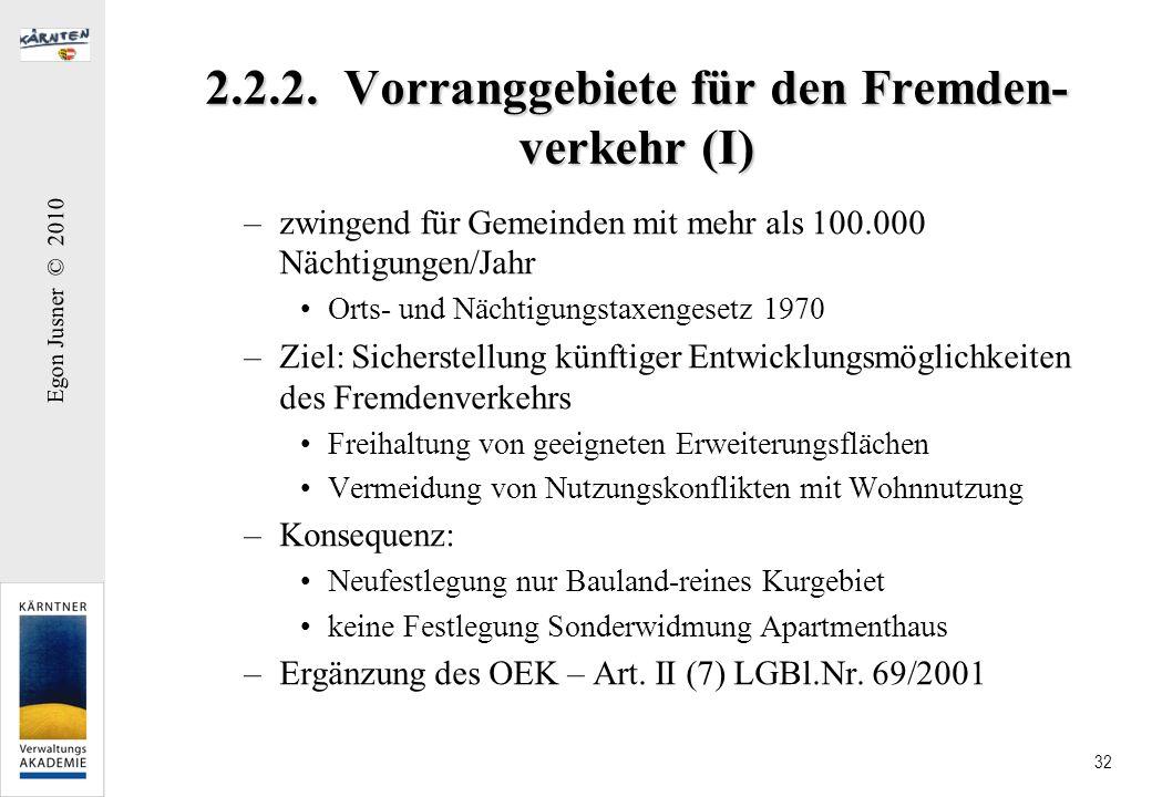 2.2.2. Vorranggebiete für den Fremden-verkehr (I)