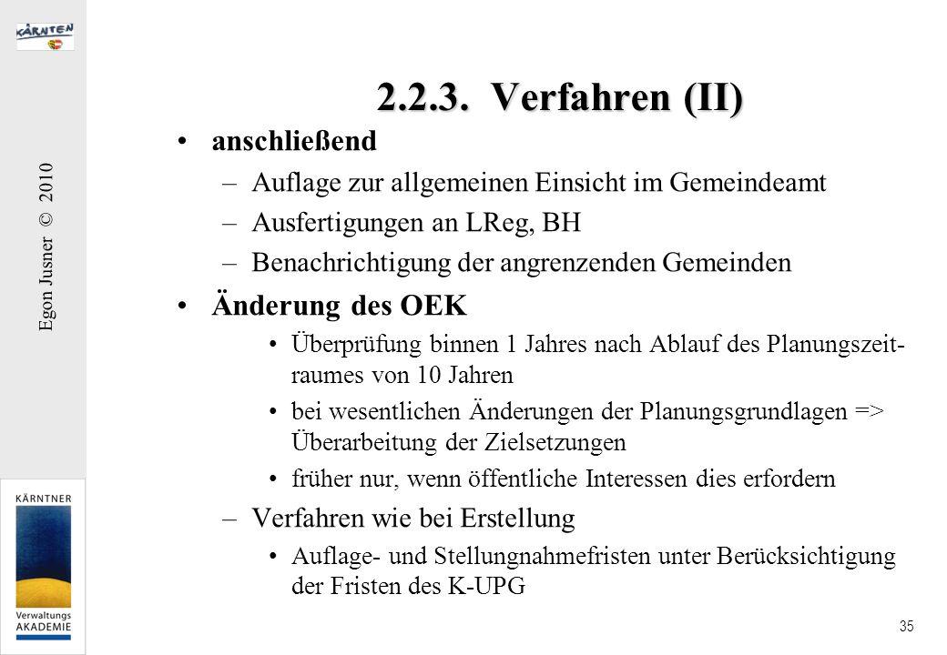 2.2.3. Verfahren (II) anschließend Änderung des OEK