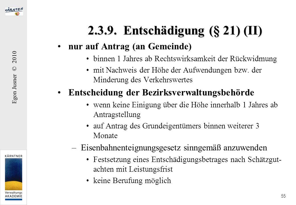 2.3.9. Entschädigung (§ 21) (II)