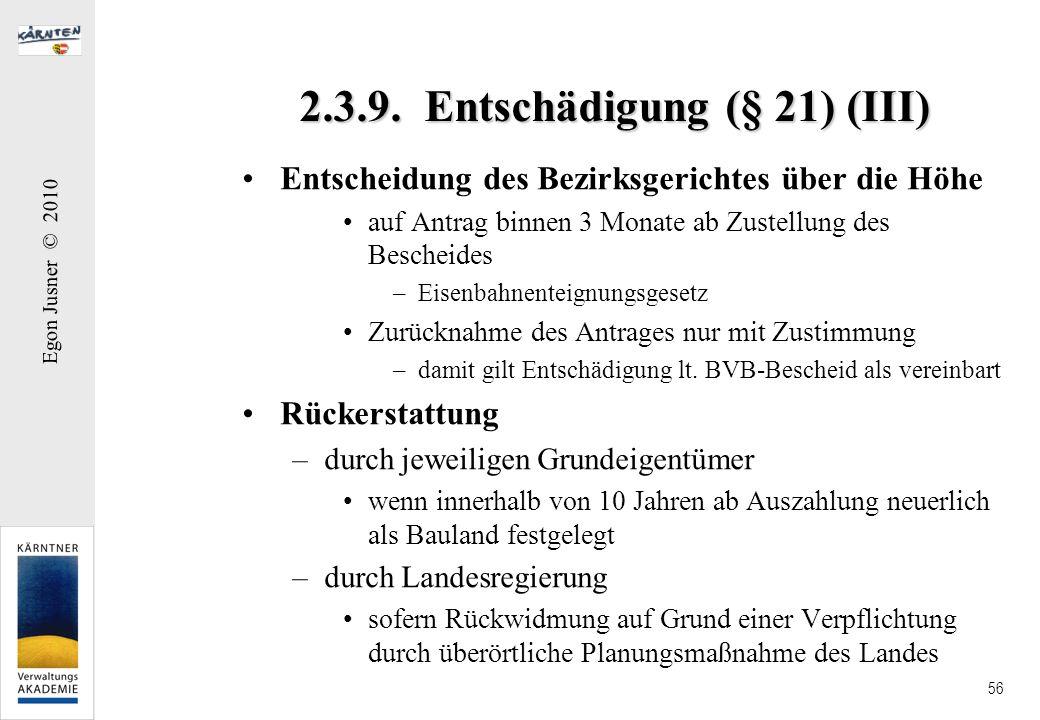 2.3.9. Entschädigung (§ 21) (III)