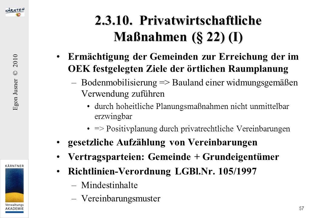 2.3.10. Privatwirtschaftliche Maßnahmen (§ 22) (I)