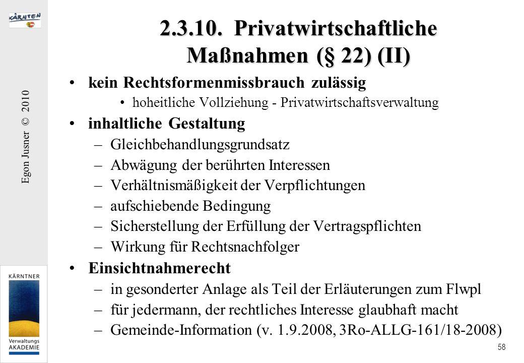 2.3.10. Privatwirtschaftliche Maßnahmen (§ 22) (II)