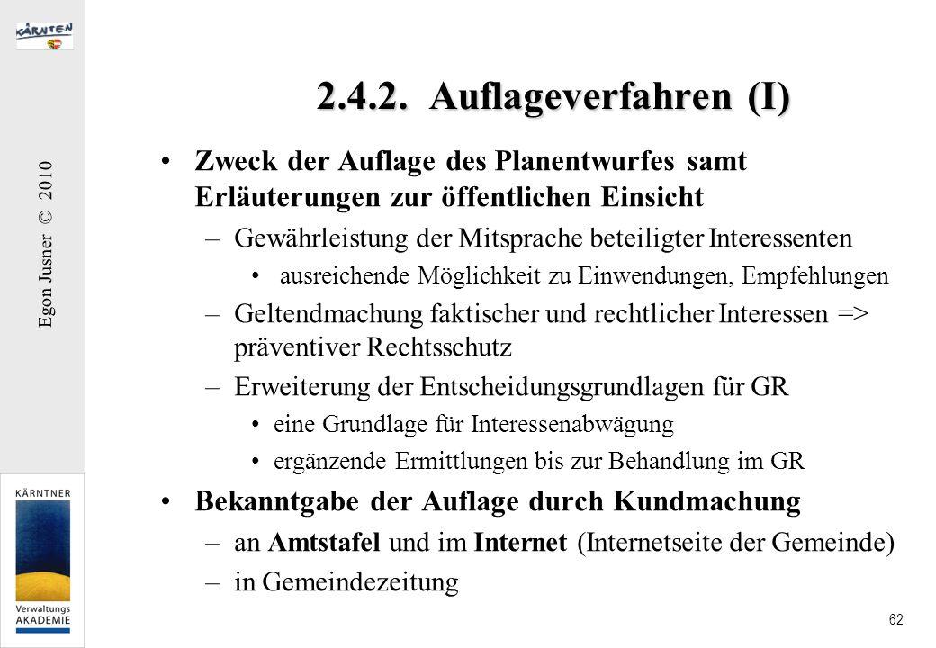 2.4.2. Auflageverfahren (I) Zweck der Auflage des Planentwurfes samt Erläuterungen zur öffentlichen Einsicht.