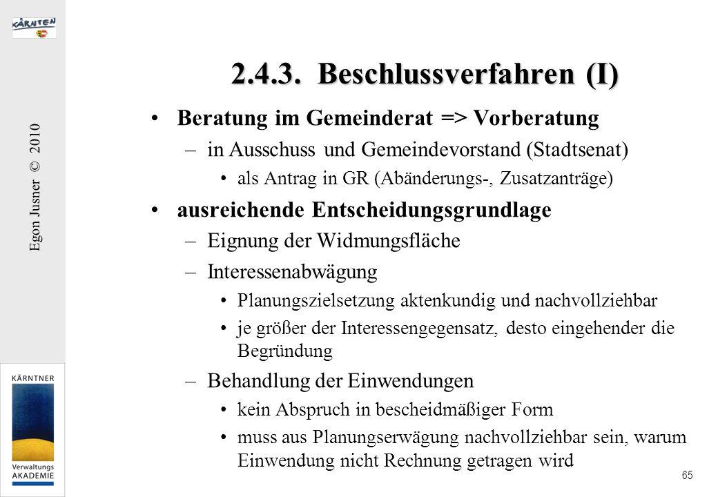 2.4.3. Beschlussverfahren (I)